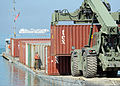 U.S. Sailors and Soldiers use the Joint Logistics Over-the-Shore (JLOTS) system to get cargo ashore in Port-au-Prince, Haiti 100208-N-HX866-004.jpg