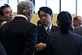 U.S. Secretary of Defense Chuck Hagel, center left, speaks with Japanese Minister of Defense Itsunori Onodera, center right, during a break in meetings in Tokyo Oct. 3, 2013 131003-D-BW835-658.jpg