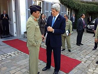 Ashfaq Parvez Kayani - April 24 2013, John Kerry bids farewell to General in Brussels, Belgium.