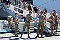UK military personnel in Gibraltar, loading HMS Ocean with vital humanitarian aid (37016178652).jpg