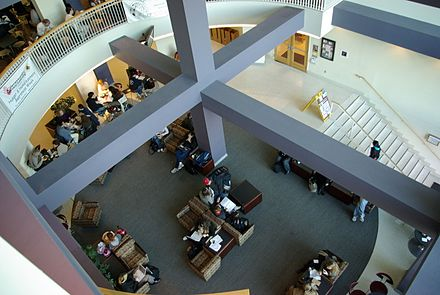 Atrium of Stamp Student Union, near the food court and co-op UMD Stamp co-op, food court beams.jpg