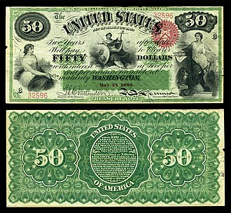 Interest bearing note - Image: US $50 IBN 1864 Fr.203
