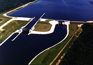 Aerial view of the John Rankin Lock and Dam on...