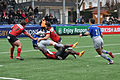 USO - Saracens - 20151213 - Jackson Wray tacled by Dug Codjo and Regis Lespinas with Laurent Delboulbes and Neil de Kock.jpg