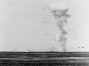 USS Brownson (DD-518) - Brownson exploding off Cape Gloucester, 26 December 1943.