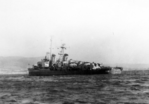 USS Chevalier (DD-805) anchored off Saipan in the spring of 1946