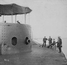 Photograph of USS Monitor after battle