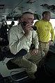 "US Navy 030527-N-2385R-003 R. Lee Ermey, host of the popular History Channel program ""Mail Call,"" uses the flight deck intercom system.jpg"