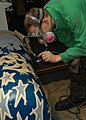 US Navy 040128-N-4669B-001 Aviation Structural Mechanic 1st Class Dennis Petersen from North Pole, Alaska, uses an airbrush to decorate a fuel tank.jpg