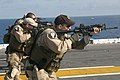 US Navy 050429-M-1195M-070 Marines assigned to the force reconnaissance platoon detached to the 26th Marine Expeditionary Unit (MEU) (Special Operations Capable), conduct small arms fire training.jpg