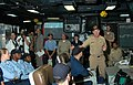 US Navy 050831-N-1332Y-016 Chief of Naval Personnel, Vice Adm. Gerald Hoewing, speaks to USS Kitty Hawk (CV 63) Sailors about upcoming changes in the Navy from inside the Combat Direction Center.jpg