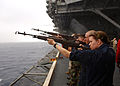 US Navy 070716-N-0916O-022 Sailors attached to the honor guard aboard nuclear-powered aircraft carrier USS Enterprise (CVN 65), practice a gun salute during a burial-at-sea rehearsal.jpg