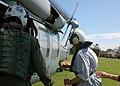 US Navy 080917-N-8132M-038 Lyda Ann Thomas, right, Mayor of Galveston, Texas, enters an MH-60S Sea Hawk helicopter.jpg