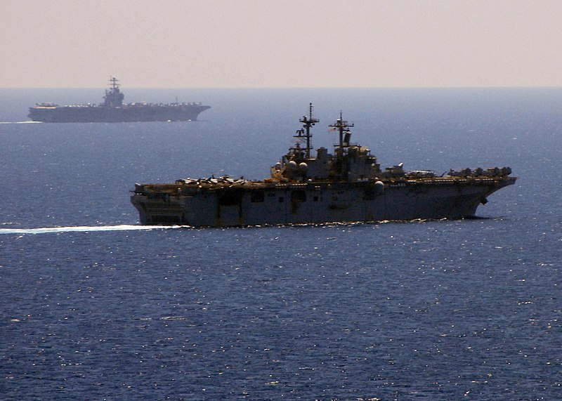 File:US Navy 090322-N-8283S-041 The Amphibious assault ship USS Boxer (LHD 4) and the aircraft carrier USS Theodore Roosevelt (CVN 71) transit the Gulf of Aden.jpg