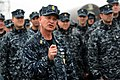 US Navy 100409-N-9818V-658 Master Chief Petty Officer of the Navy (MCPON) Rick West speaks to the crew of the Los Angeles-class attack submarine USS Toledo (SSN 769).jpg