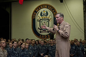 US Navy 120114-N-DX615-340 Vice Adm. Mark Fox, commander of U.S. Naval Forces Central Command, addresses Sailors and Marines aboard the amphibious.jpg