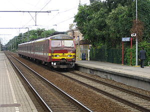 Belgian railway line 124 - A local passenger train at Uccle Calevoet station in 2008