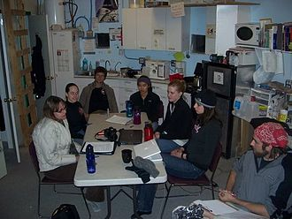 Mars Desert Research Station - Crew 73 meets with writer Laurie Schmidt upstairs in the Hab.