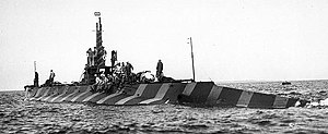 USS K-2 painted in an experimental camouflage scheme, 1919