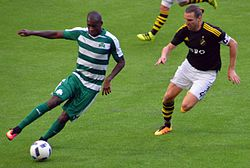 Víctor Ibarbo (panathinaikos) being challanged by Nils-Eric Johansson (AIK) during a Europa League Qualifier.jpg