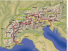 Alpenpässe Karte.Alpenüberquerung Wikipedia
