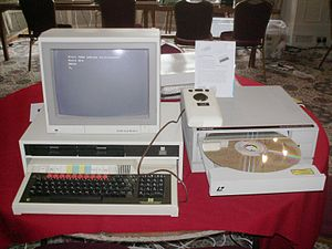 Digital obsolescence - A Domesday Project machine with its modified Laserdisc. The Domesday Project was published in 1986.