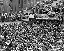 A Valentine tank destined for the Soviet Union leaves the factory in the United Kingdom.