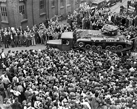A Valentine tank destined for the Soviet Union leaves the factory in Britain. Valentine-tank-Stalin.jpg