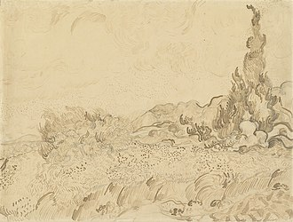 Wheat Field with Cypresses - Image: Van Gogh Weizenfeld mit Zypressen 2