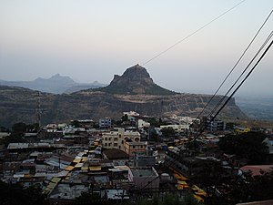 Saptashrungi - Vani village viewed from Saptashrungi gad. The peak opposite to the temple is the Markandeya hill.