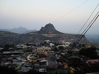 Saptashrungi - Vani village viewed from Saptashrungi gad. The peak opposite to the temple is the Markandeya hill.
