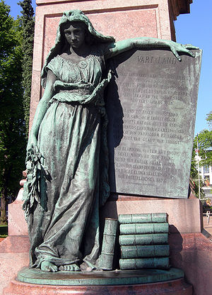 Maamme - The Swedish words of the Vårt Land poem appear in Johan Ludvig Runeberg's monument in Helsinki. Sculptor Walter Runeberg.