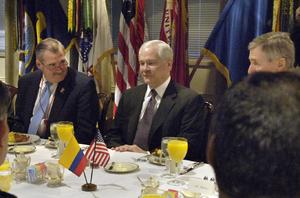 Joseph Benkert - Joseph Benkert (right) attends a breakfast meeting, on February 1, 2007, with Defense Secretary Robert M. Gates (center) and Assistant Secretary of Defense for Homeland Defense Peter Verga.