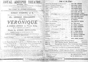 Véronique (operetta) - Programme from revival at the Adelphi Theatre