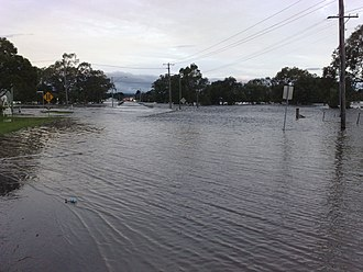 Condamine River - Flooded Victoria Street, Warwick, 2010