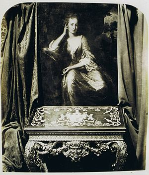 Charles Fane, 1st Viscount Fane - Victorian photo of a portrait of Lady Fane,  by G. Schalken, 1702, and Florentine table c1735.