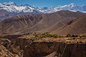 Upper Mustang - Gyakar village across the gorge