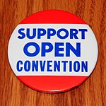 Vintage Political Pinback-Button - Support Open Convention, 1980 Democratic Convention, Measures 3 Inches In Diameter (47613697141).jpg