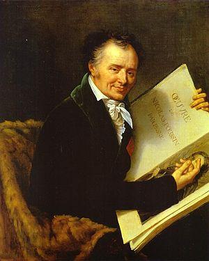 Vivant Denon - Vivant Denon with Jean Pesne's engraved Oeuvres de Nicolas Poussin, portrait by Robert Lefèvre (Musée National du Château de Versailles)
