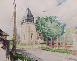 Vue aquarellée de Crestot, village de l'Eure, en 2003.JPG