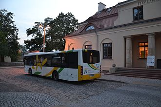 Modlin railway station - A bus for the airport waiting at the station.