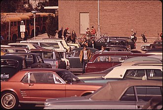 Charles W. Woodward High School - Charles W. Woodward High Schools parking lot, in May 1973, from the U.S. National Archives.