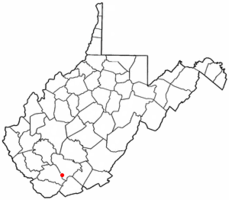Location of Rhodell, West Virginia