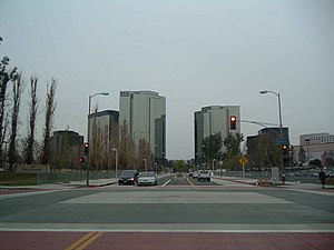 Warner Center, Los Angeles - The three tallest skyscrapers of Warner Center, with lower mid-rises around them. Taken from the corner of Owensmouth and Erwin in December 2004.