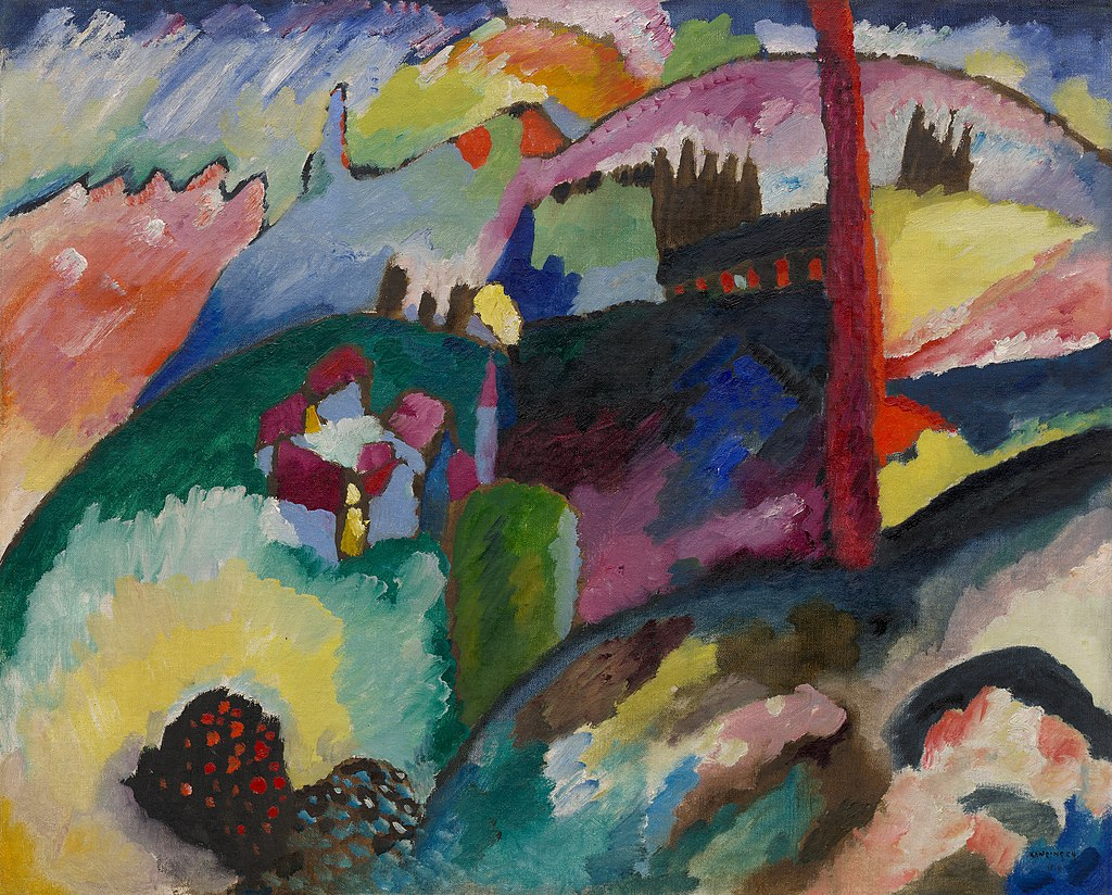 Wassily Kandinsky, 1910, Landscape with Factory Chimney, oil on canvas, 66.2 x 82 cm, Solomon R. Guggenheim Museum