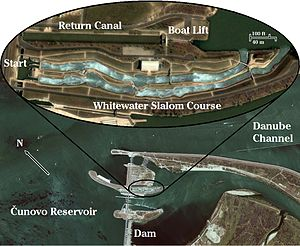 Čunovo Water Sports Centre - The slalom course is built on an island that straddles the Čunovo dam in the Danube river.