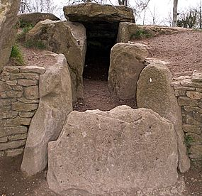 a pathway flanked by standing stones leads up to a stone entrance