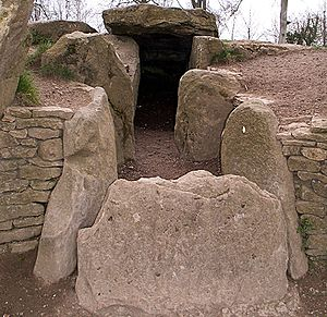 Severn-Cotswold tomb - The exposed stone burial chambers of Wayland's Smithy long barrow, Oxfordshire, U.K.