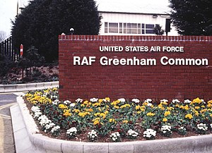 RAF Greenham Common - RAF Greenham Common welcome wall in 1990
