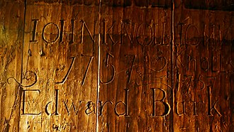 Wellclose Square - Wellclose prison cell wall, with graffiti dated 1757, preserved at the Museum of London.